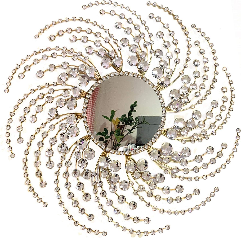 Decorative Starburst Mirror,Metal Wall Mirror,Wall Hanging Mirror in Sunburst Shape (Circle)