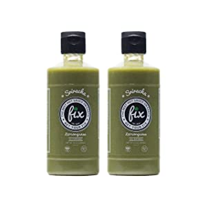 Fix Lemongrass Sriracha Hot Sauce - 10 Ounce Squeeze Bottle (2 Pack), Big Bold Flavor with a Firey Kick, All Natural Ingredients, NON-GMO, Gluten Free, Vegan Certified, Green