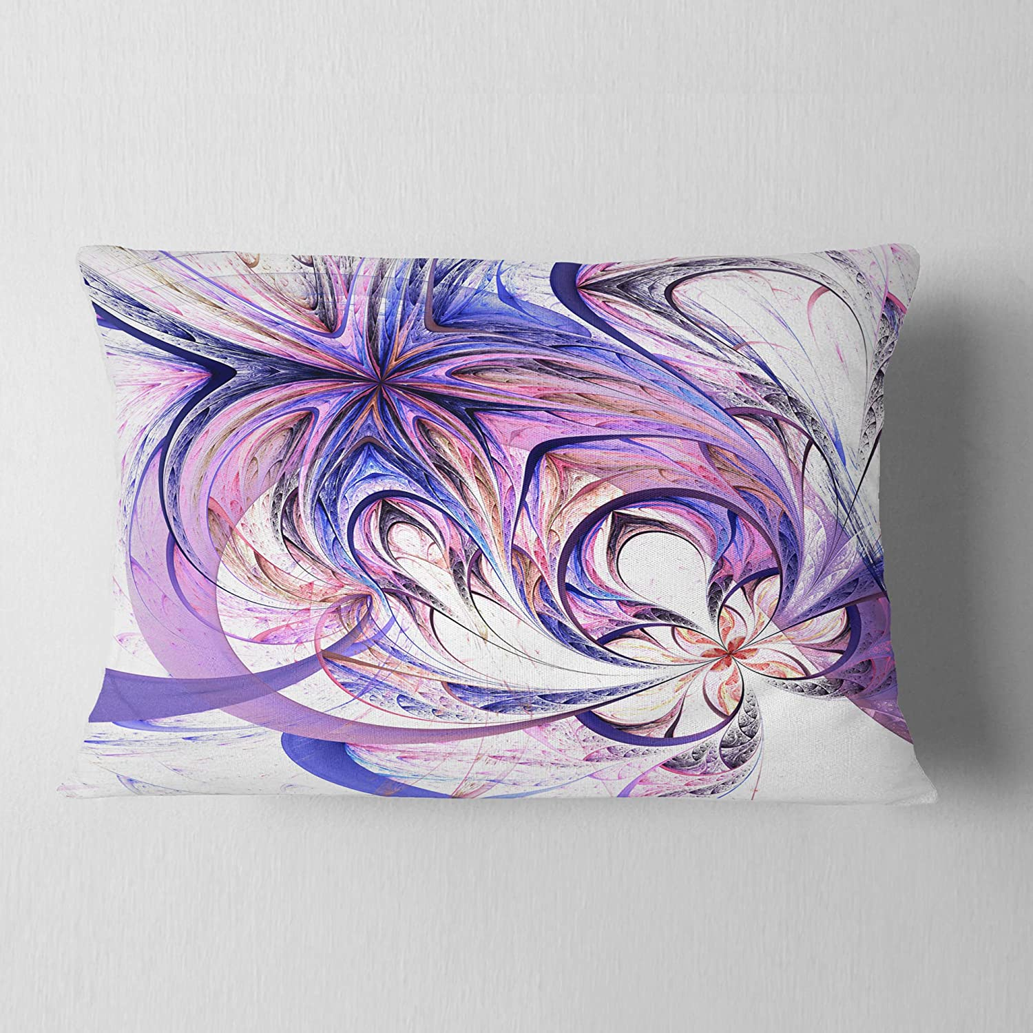 Designart Cu7860 12 20 Blue And Pink Flower Pattern Floral Throw Pillow 12 X 20 Decorative Pillows Inserts Covers Throw Pillow Covers