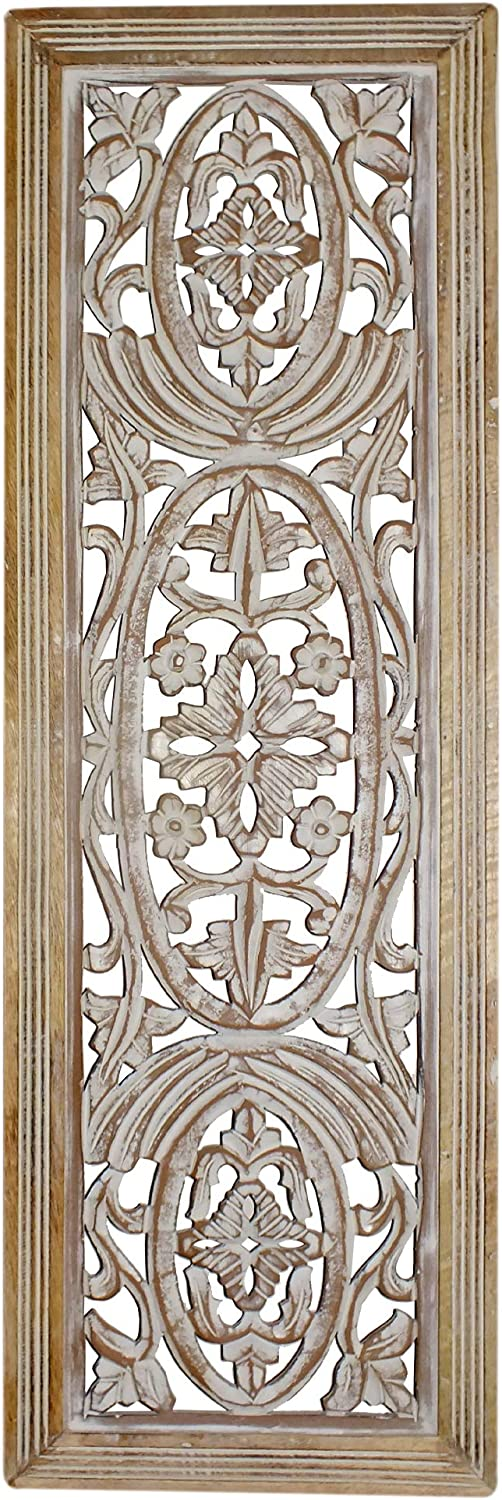 Benzara Rectangular Mango Wood Wall Panel Hand Crafted with Intricate Carving, Rectangle, White and Brown