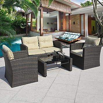 Cushioned Outdoor Wicker Patio Set Garden Lawn Rattan Sofa Furniture BLACK  4PCS