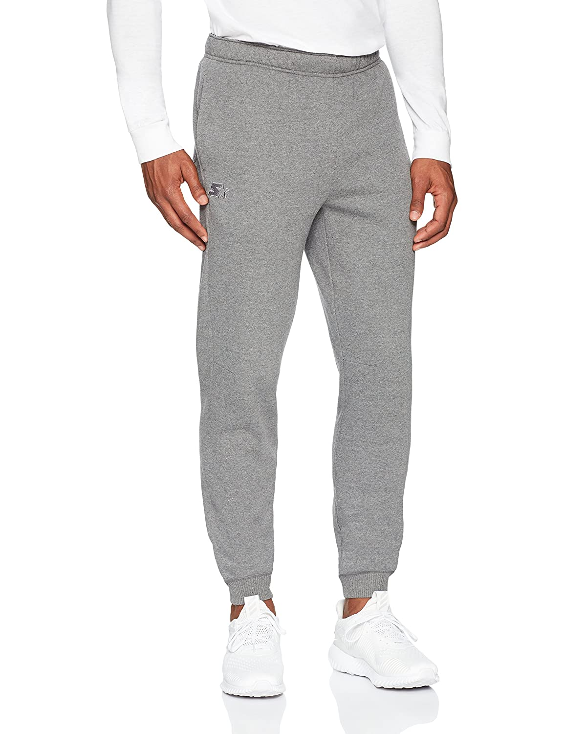 Starter Men's Jogger Sweatpants with Pockets, Prime Exclusive, Iron Grey Heather with Embroidered Logo, Extra Large S17FMB33