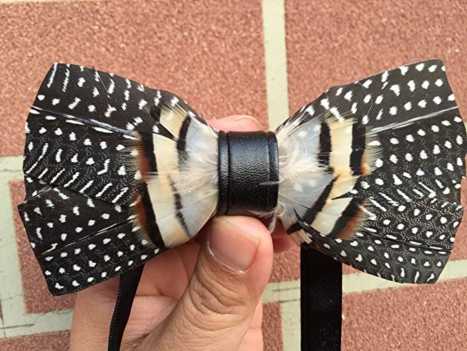 67e1863f059 Amazon.com  Novelty Feather Bow Tie Natural Material Bowtie (Black)   Clothing