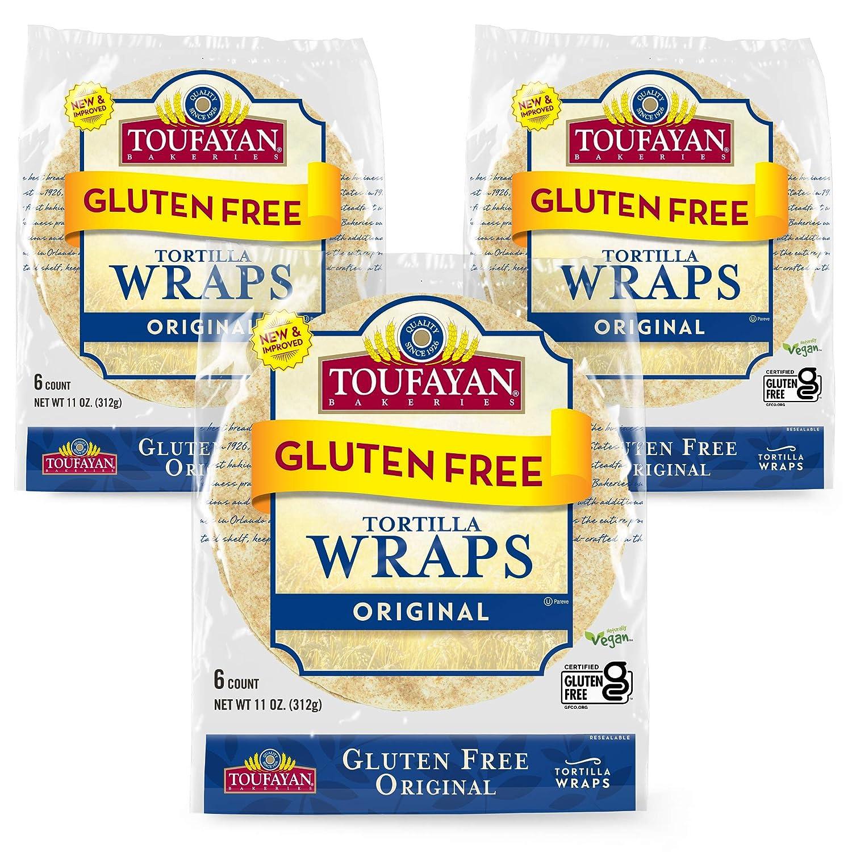Toufayan Bakery, Plain Original Gluten Free Wraps for Sandwiches, Tortillas, Burritos and Snacks, Gluten Free, Naturally Vegan and Kosher (Original, 3 Pack)