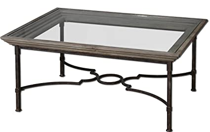 rustic antique style wrought iron and wood coffee table - Antique Wood Coffee Tables