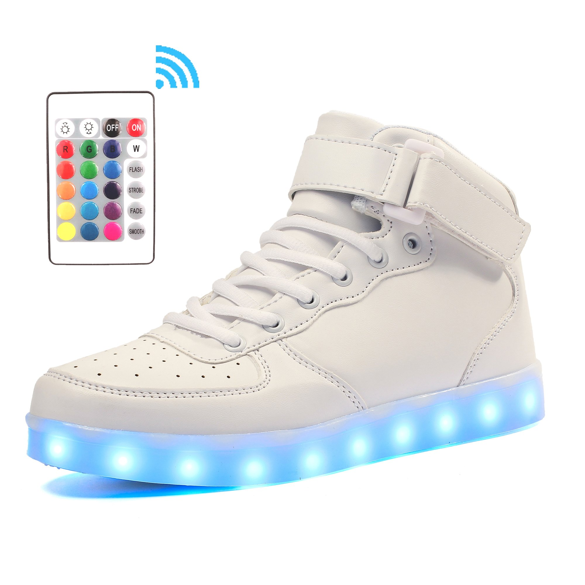 Voovix Kids LED Light up Shoes USB Rechargeable Flashing High-top Sneakers with Remote Control for Boys and Girls(White,US7/CN40)