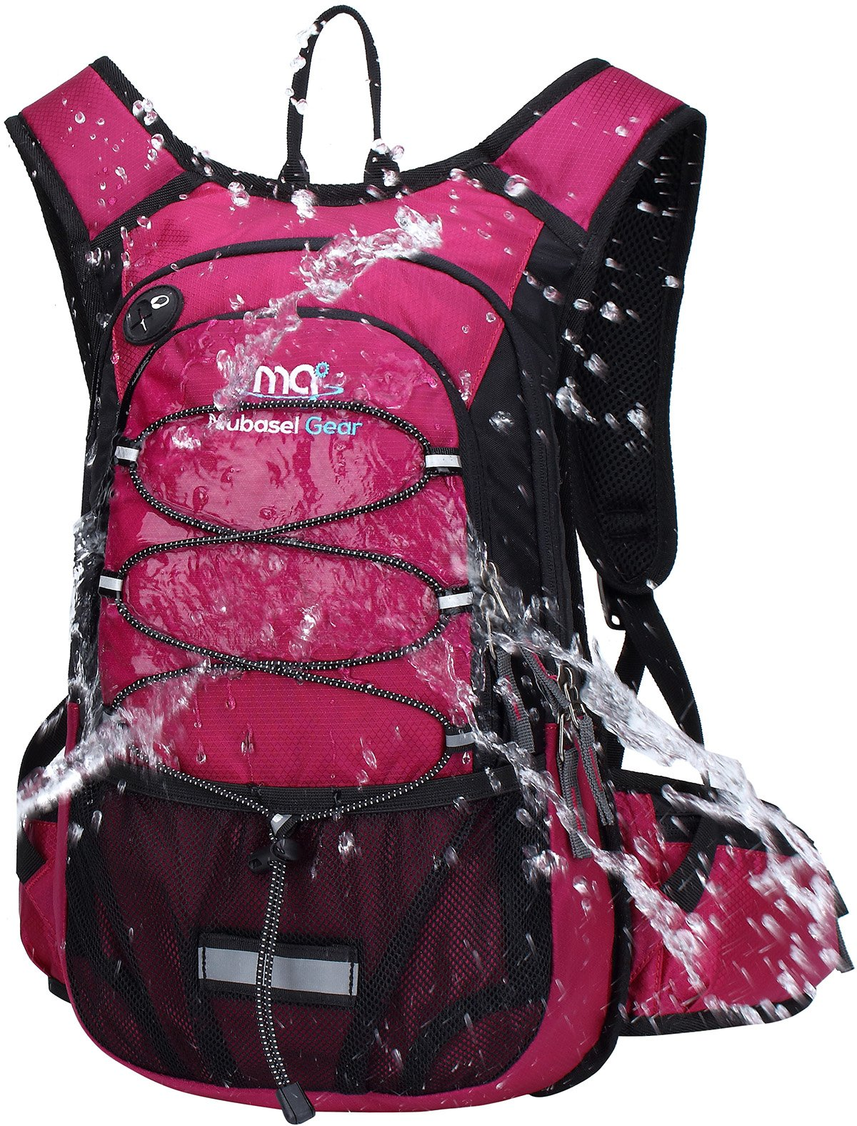 Mubasel Gear Insulated Hydration Backpack with 2L BPA Free Bladder - Keeps Liquid Cool up to 5 Hours – Waterproof Pack for Running, Hiking, Cycling, Camping (Purple)