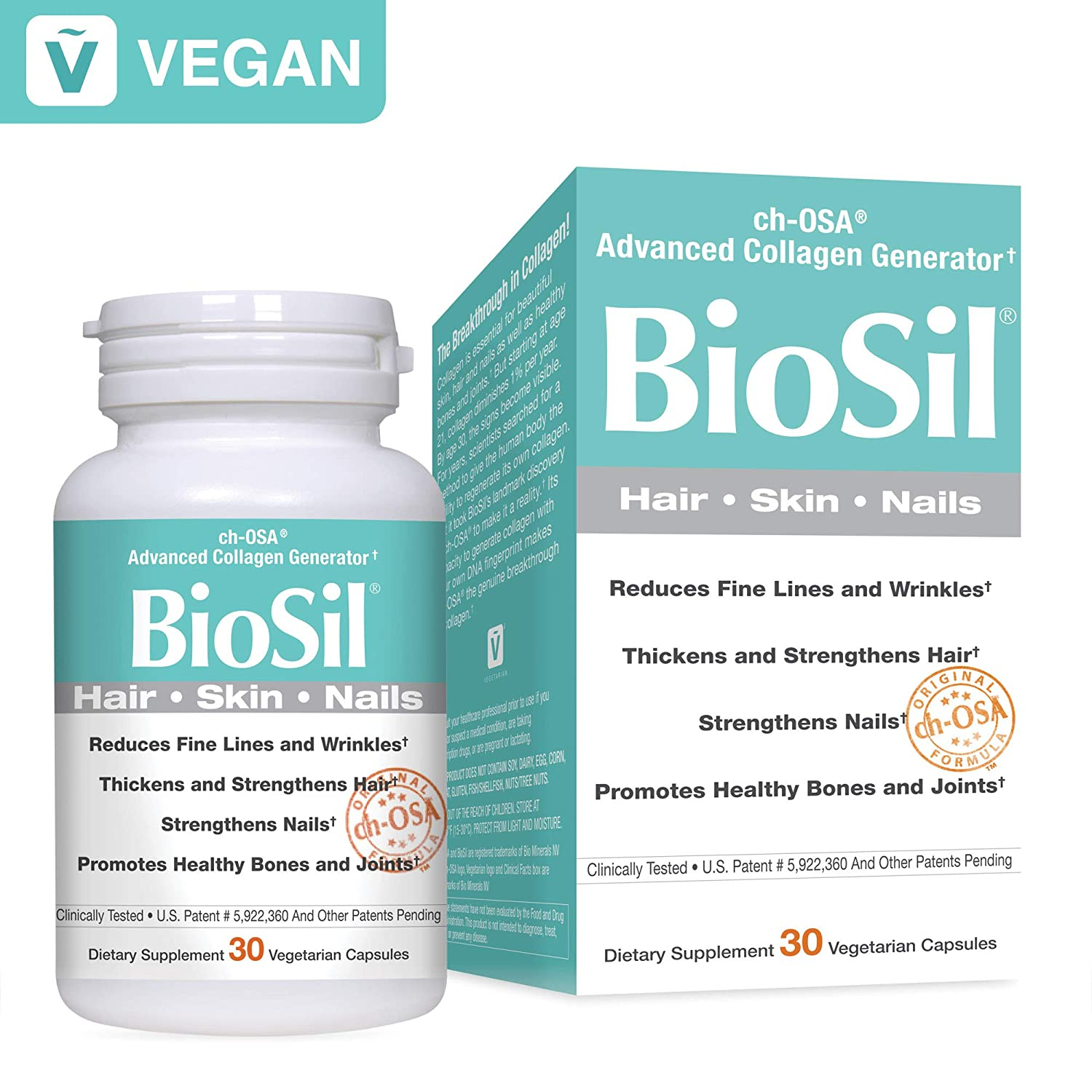 BioSil by Natural Factors, Hair, Skin, Nails, Supports Healthy Growth and  Strength, Vegan Collagen,