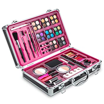 Vokai Makeup Kit Set , 32 Eye Shadows 6 Lip Glosses 2 Lip Gloss Wands 2  Lipsticks 1 Face Powder Duo 1