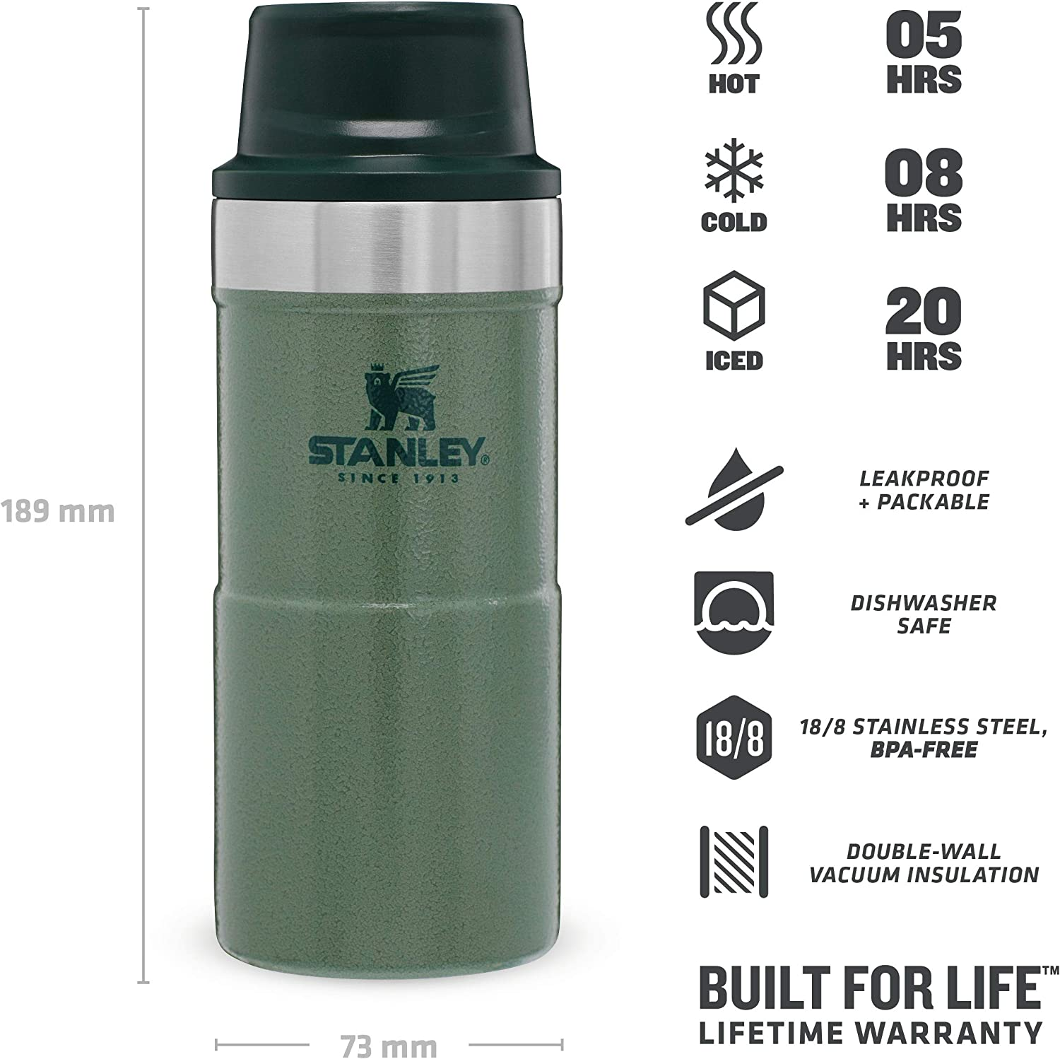 BPA FREE Stainless Steel Thermos Dishwasher Safe Keeps Cold or Hot for 20 Hours Leakproof Lid Doubles as Cup Stanley Classic Legendary Bottle 0.75L // 25OZ Nightfall
