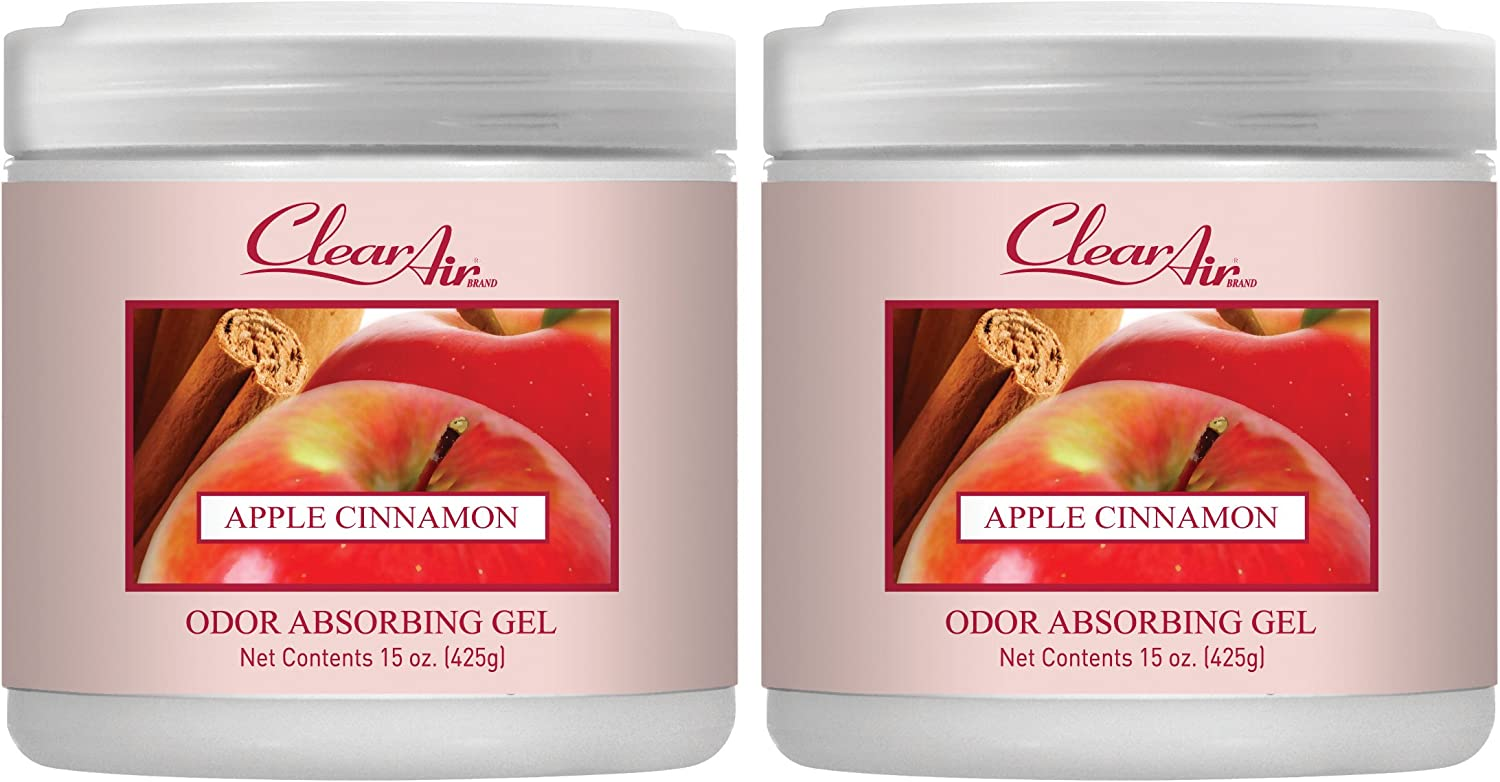 Clear Air Odor Absorber Gel - Air Freshener - Absorbs and Eliminates Odors in Bathrooms, Cars, Boats, RVs and Pet Areas - Made with Essential Oils - Apple Cinnamon Scent - 2 Pack