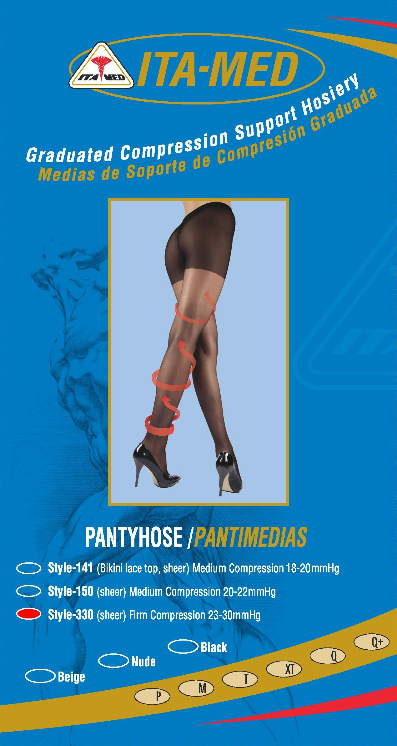 ITA-MED Sheer Pantyhose Compression, Mixed, Queen Plus, 3 Count by ITA-MED