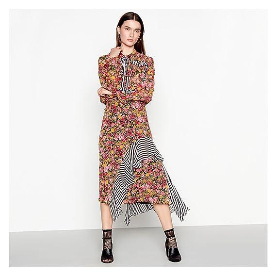 406ce5c8d379 Studio by Preen Womens Multi-Coloured Floral Stripe Print Chiffon Midi Skirt  18