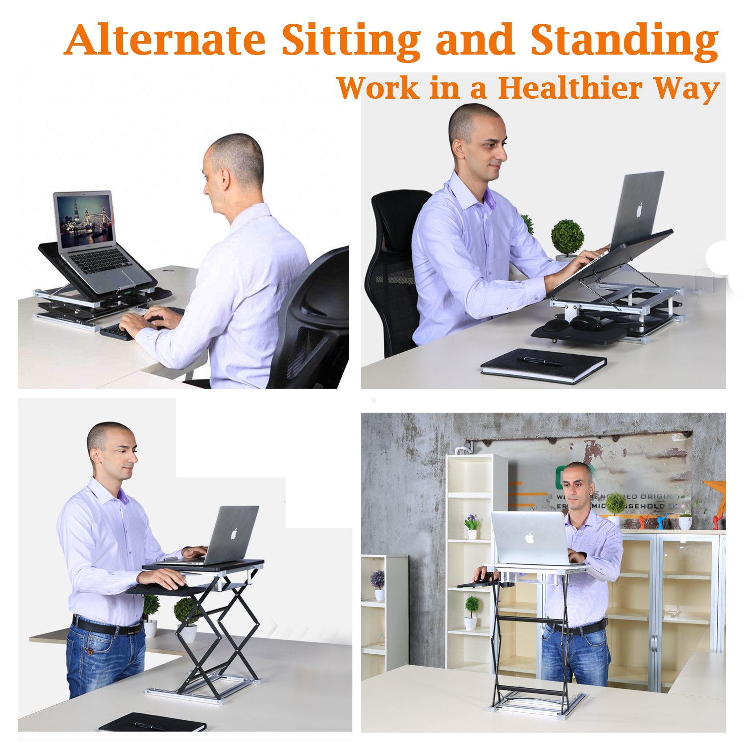 Annstory Laptop Desk, Portable Riser and Standing Table Adjustable Riser Height 4.9''-31'' Sit Or Stand Up Desk Easy Height Adjustments Table Office Desk Laptop Desk Tray by Annstory (Image #2)