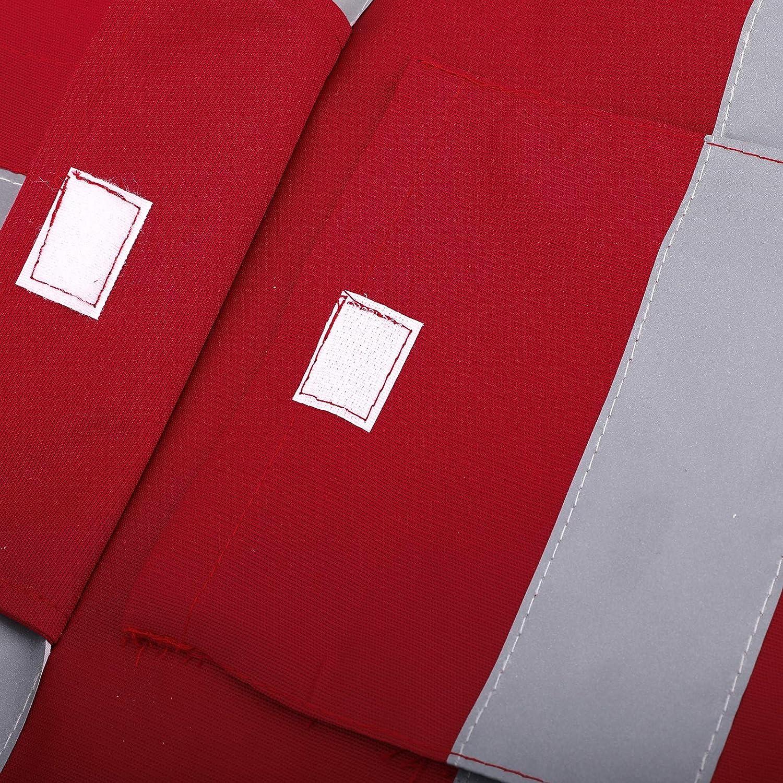 Rosso Giacca ad Alta visibilit/à con 5 Tasche e Zip Gilet di Sicurezza ad Alta visibilit/à con Nastro Riflettente Traspirante Artudatech Gilet ad Alta visibilit/à