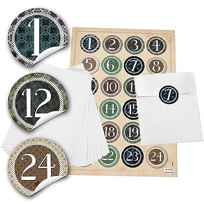 '24 bolsas de adviento Set Blanco (13 x 18 cm) y 24 pegatinas redondas 4 cm Vintage,etiqueta Calendario de Adviento Números de 1 a 24 para rellenar: Oficina y papelería