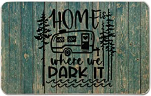 Occdesign Home is Where We Park It Camper Door Mat Farmhouse Rustic Decorative Camping Doormat Durable Burlap Camper Rug