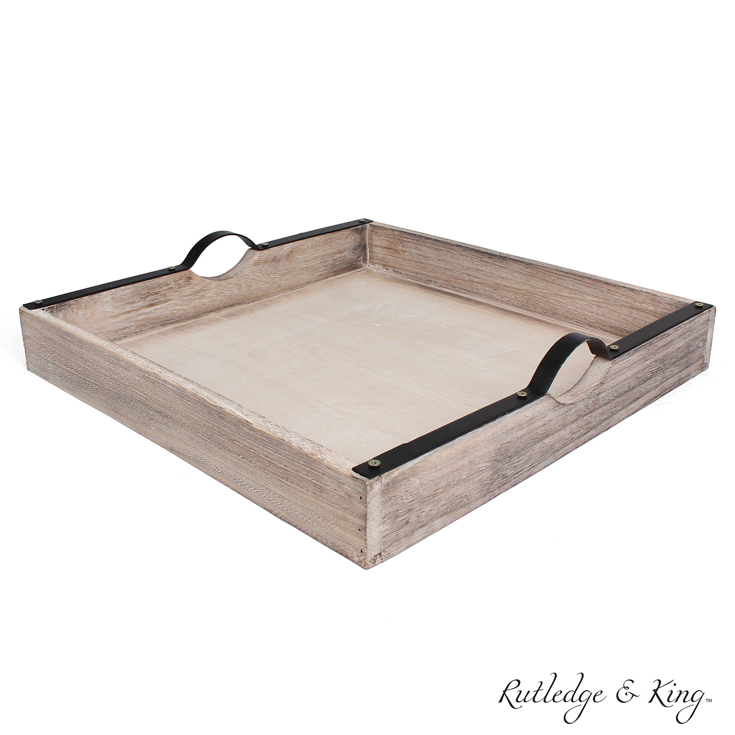 Rutledge & King Beaufort Serving Tray - Ottoman Tray/Decorative Tray - Coffee Table Tray/Square Wooden Tray - Breakfast in Bed Tray with Handles - Rustic Wood Tray by Rutledge & King