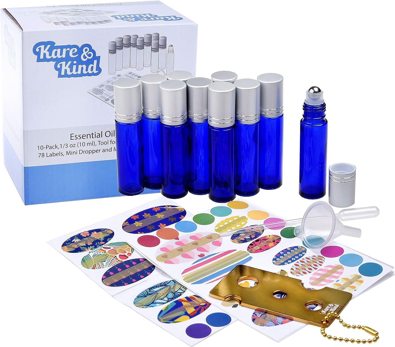 Kit de Botellas para Aceite Esencial de Kare & Kind – 10 Botellas para Aceite Esencial (1/3 oz - 10 ml), 1 Herramienta para Apertura/Sellado de Botellas, 78 Etiquetas, 1 Mini Gotero + 1 Mini Embud
