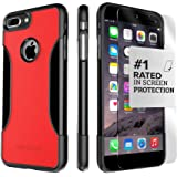 iPhone 7 Plus ケース、(ブラックレッド) [ZeroDamage 強化ガラス画面保護] 付きSaharaCaseプロテクションキットセット強化プロテクション滑り止め[耐衝撃性 バンパー]