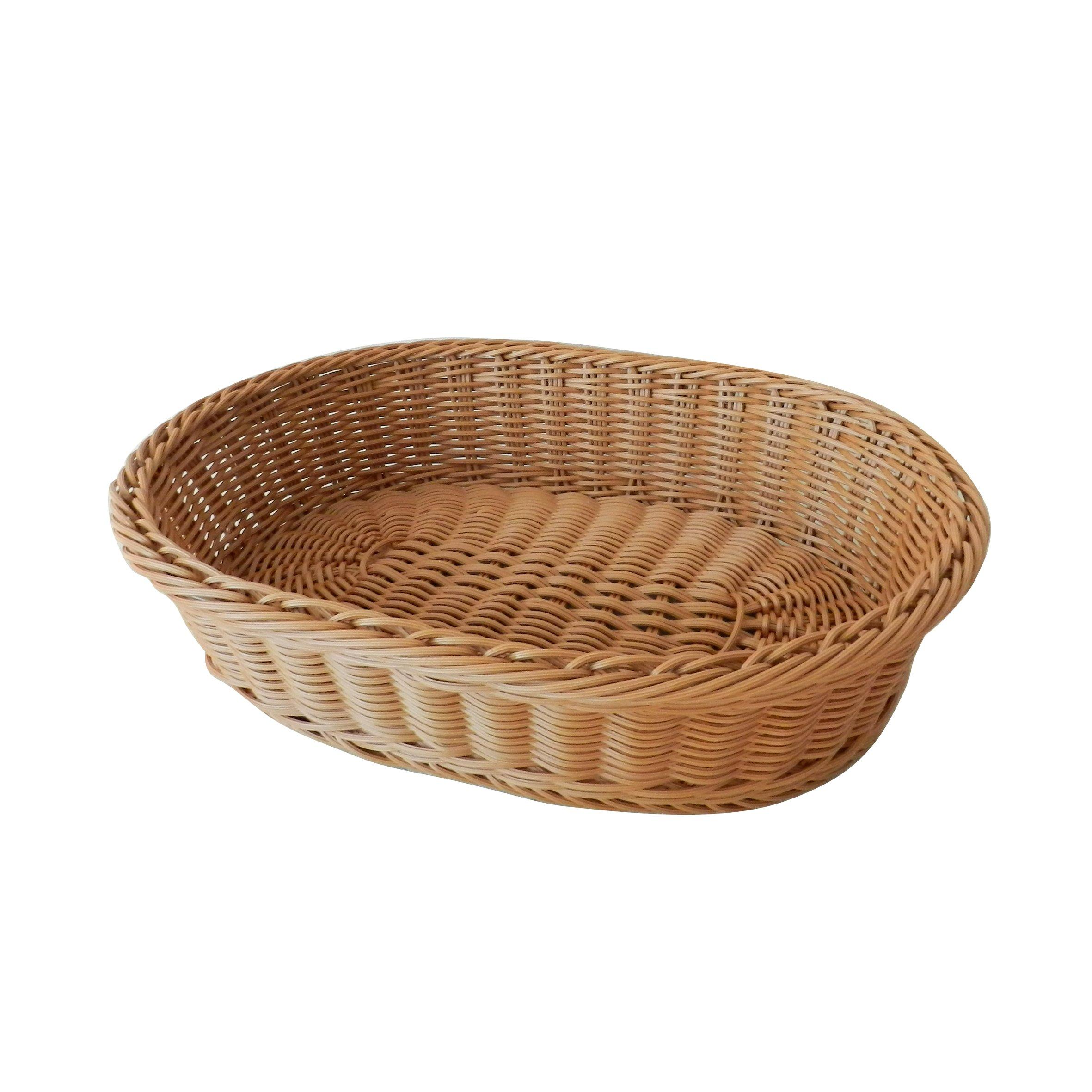 CVHOMEDECO. Oval Imitation Rattan Bread Basket Fruit Display Basket Food Serving Basket Resin Wicker Supermarket Showcase.Light Brown. 13-1/2'' X 11'' X 3''H