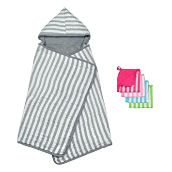 green sprouts Muslin Hooded Towel made from Organic Cotton | The perfect towel for bath,