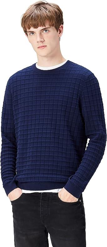 TALLA M. Marca Amazon - find. Jersey con Textura de Cuadros para Hombre