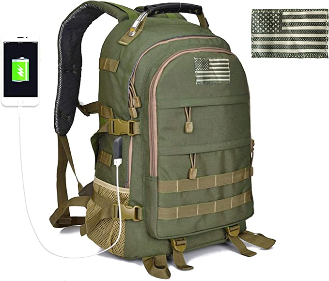 Tactical Military Rucksack Molle Backpack USB Port Camping Hiking Shoulder Bags