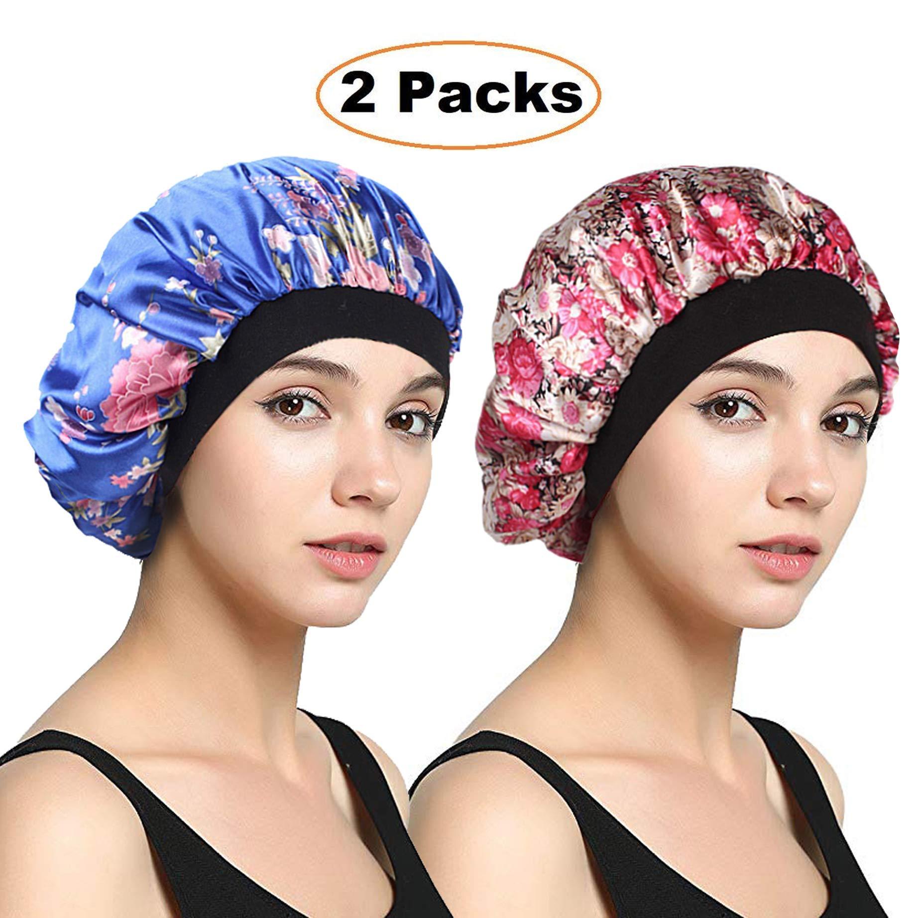 EINSKEY Womens Satin Bonnet 2-Packs Sleeping Cap Night Cap Hair Cap Elastic Band
