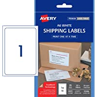 Avery Shipping Labels, A6 for Laser, Inkjet Printers, 105 x 148 mm, 25 Labels (959406 / L7175)