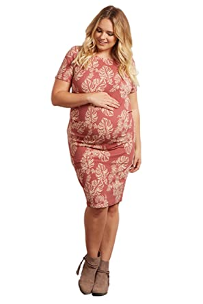 6bb81d30c0 PinkBlush Maternity Pink Tropical Leaf Fitted Short Sleeve Maternity Plus  Dress