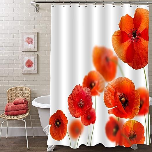 Red Corn Poppy Flower Shower Curtain Bathroom Decor Fabric /& 12hooks 71x71inch