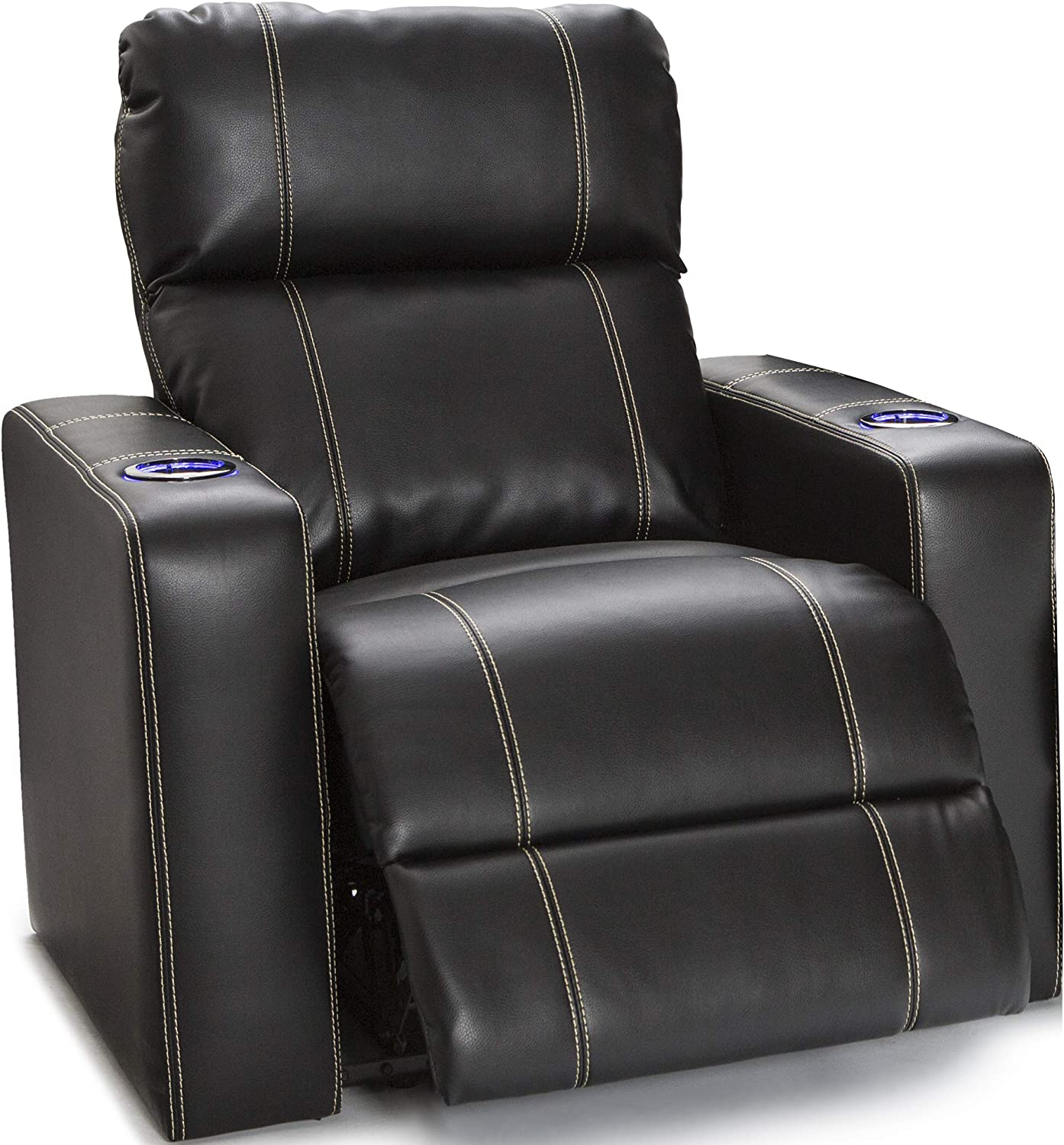 Seatcraft Dynasty - Home Theater Seating - Power Recliner - Leather Gel - Lighted Cup Holders - USB Charging - Wall Hugger - Black