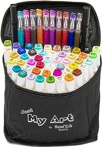 Just My Art Complete 60-piece set, 47 Color Dual Tip Alcohol Based Art Markers, 10 Gel Pens, 2 Black fine tip drawing markers plus 1 Blender Marker Pens with Case for Drawing Sketching Illustration