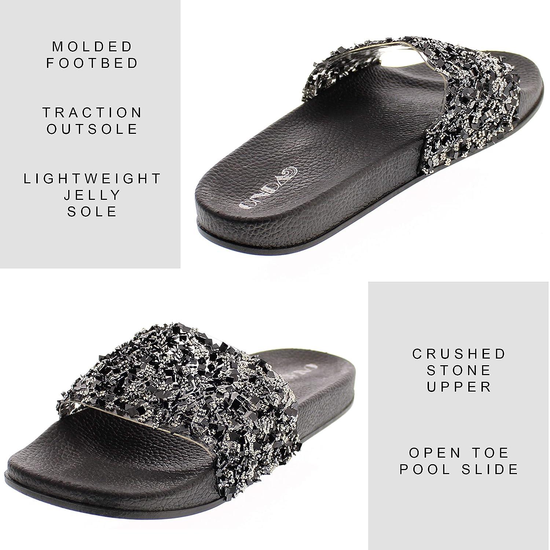 4e57693a98 ONDA Women's Sanaa Shiny Metallic Pool Slide Platform Flat Sandal Contoured  Comfort Footbed