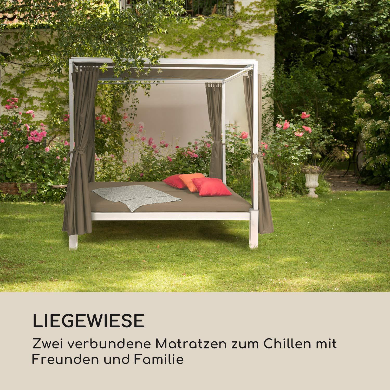 blumfeldt Senator Lounge Gartenliege /• Doppel-Gartenliege /• Lounge-Pavillon /• 188 x 208 x 205 cm /• 8 cm Polsterung /• Sichtschutz-Vorh/änge /• wasserfest /• Sonnendach /• Stahlrahmen /• max 350 kg /• grau
