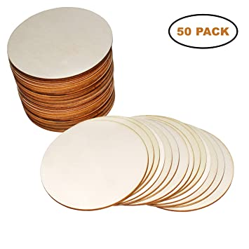 50 Pack Tags Plaques and Coasters Crafts Ornaments Scrapbook Wooden Discs Natural Plain Circle Shapes For Your Decorations - 3.93//10 cm Unfinished Round Wood Log Slices with Thickness of 2mm