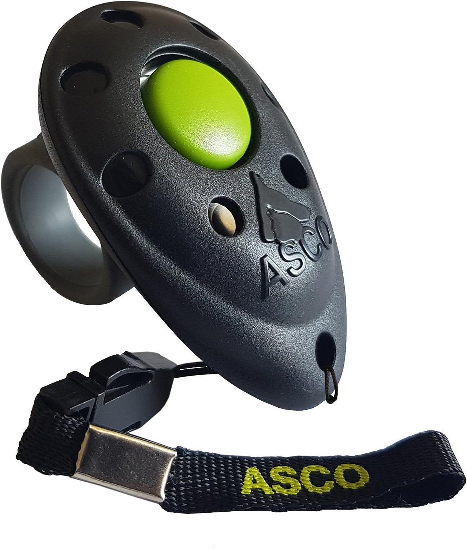 ASCO Clicker prémium, clicker de Dedo para Entrenamiento, clicker Profesional para Perros, Gatos y Caballos, adiestramiento de Perros con clicker, Negro AC01F
