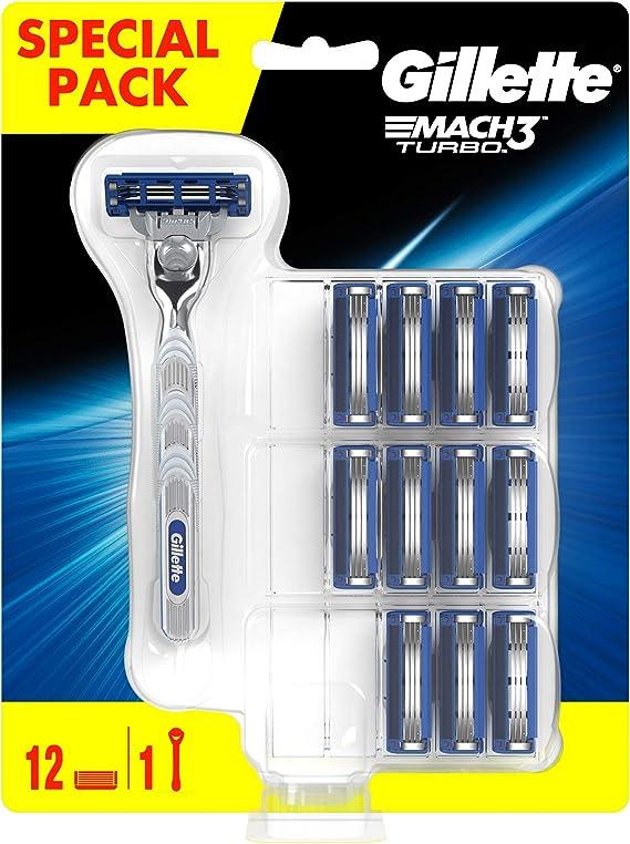 Maquinilla de afeitar Gillette Mach3 Turbo de los hombres y 12 hojas de afeitar: Amazon.es: Salud y cuidado personal
