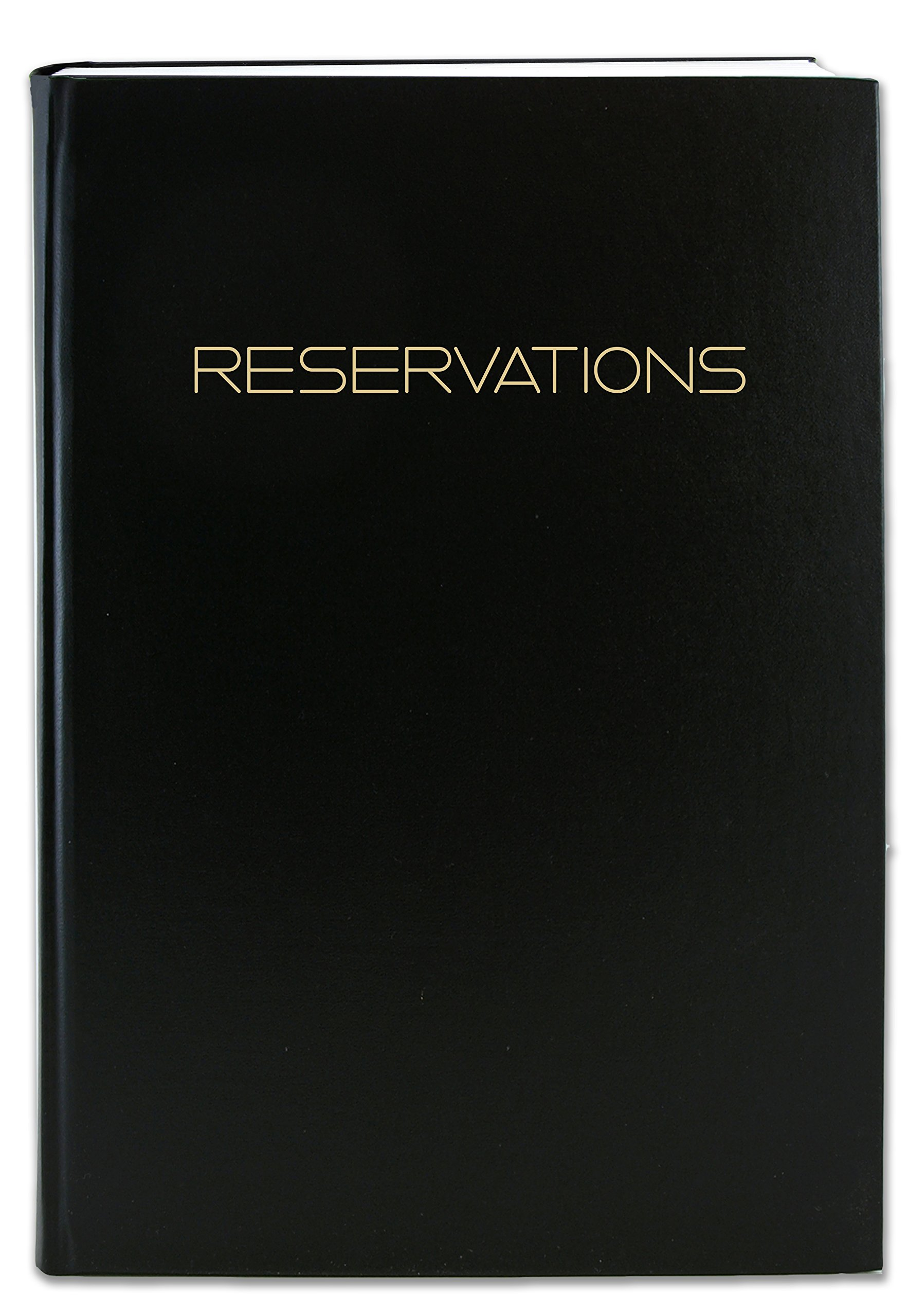 BookFactory Reservations Book, 365 Day Table Reservations, Restaurant Dinner Reservations 408 Pages, 8 7/8'' x 13 1/2'' Black Imitation Leather, Smyth Sewn Hardbound LOG-408-OCS-A-LKT79-(Reservations) by BookFactory