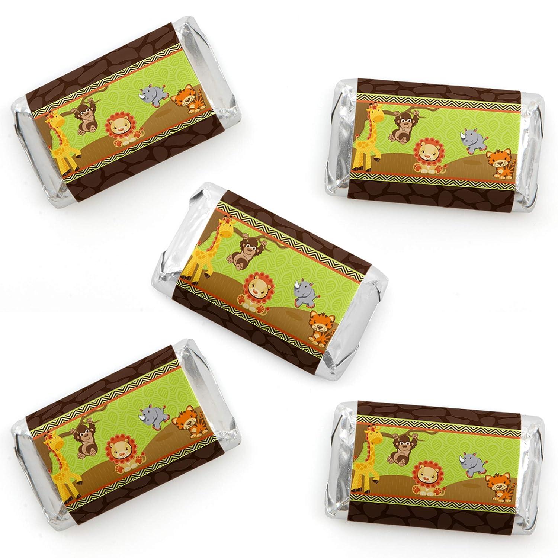 Baby Shower or Birthday Party Small Favors Mini Candy Bar Wrapper Stickers Fun Safari Jungle Funfari 40 Count