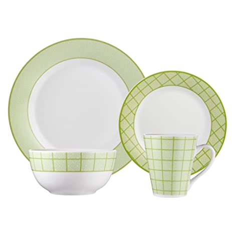 Brilliant - Gothic Lime 16 Piece Green u0026 White Porcelain Dinnerware Set Service for 4  sc 1 st  Amazon.com & Amazon.com | Brilliant - Gothic Lime 16 Piece Green u0026 White ...