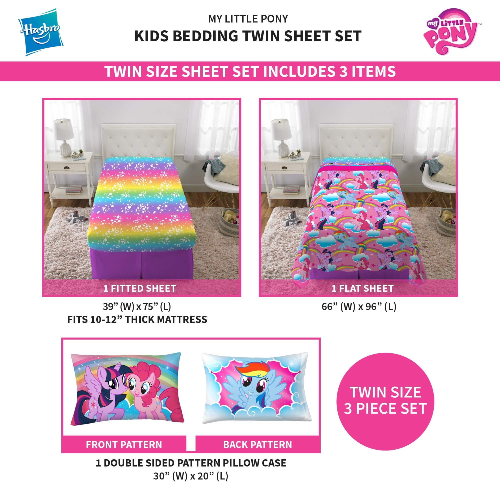 Franco Kids Bedding Super Soft Microfiber Sheet Set, 3 Piece Twin Size, Hasbro My Little Pony by Franco (Image #4)