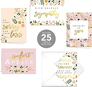 Modern Floral Sympathy Cards / 25 Sympathy cards / 5 designs with matching inside verses
