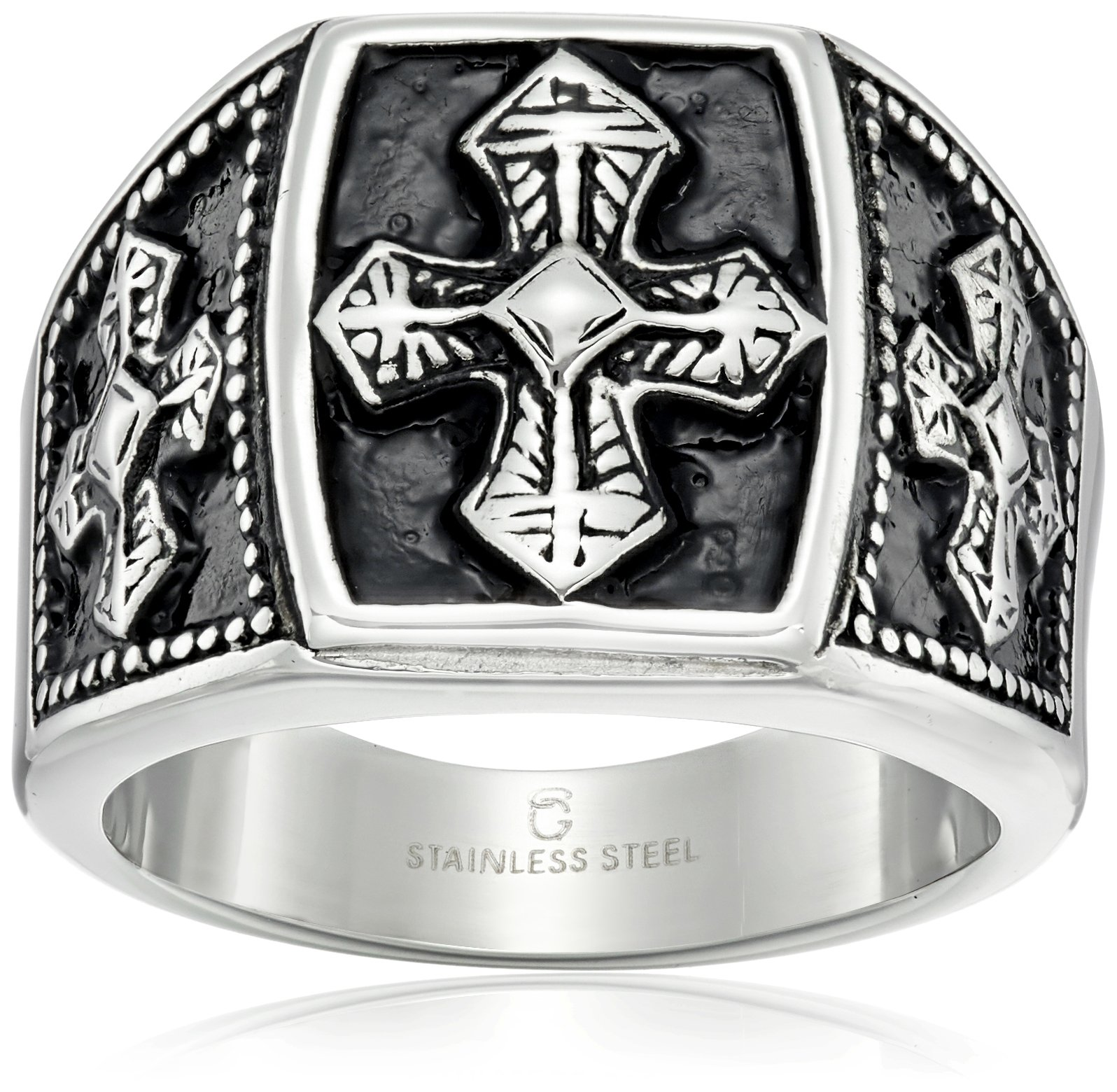 Cold Steel Stainless Steel and Black IP Tribal Ring, Size 11