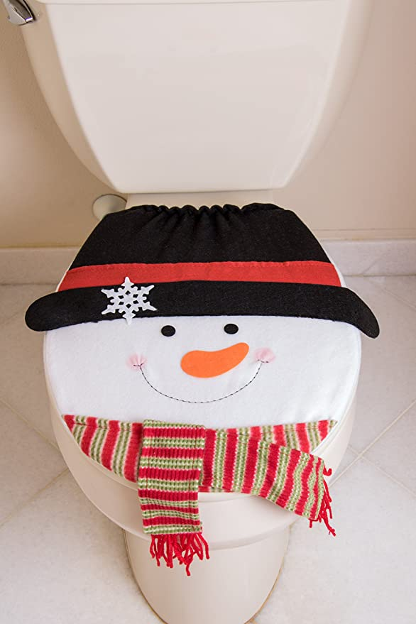 Amazon.com: Snowman Christmas Themed Toilet Seat Lid Cover | Elastic ...