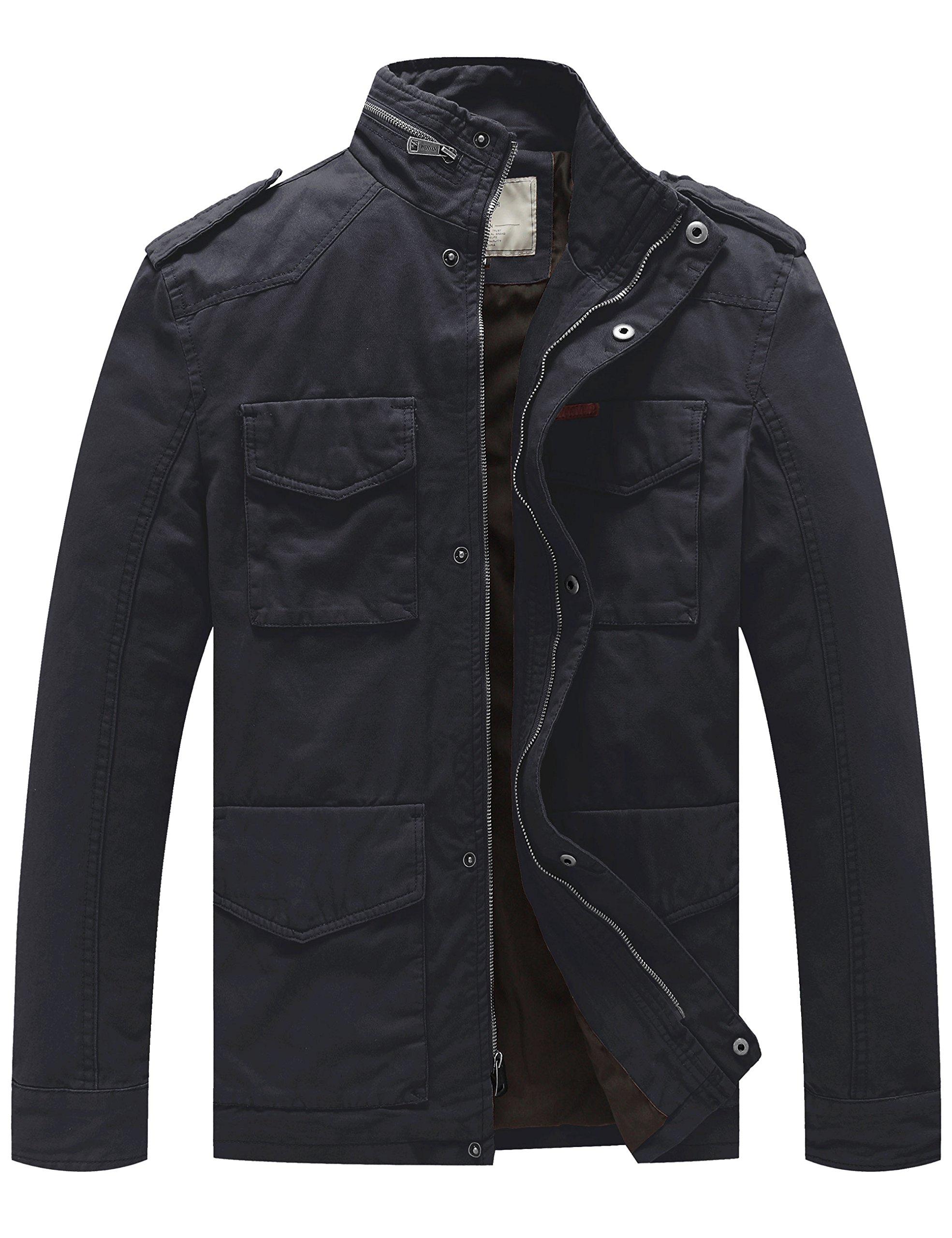 WenVen Men's Stand Collar Cotton Field Jacket (Grey, Medium)