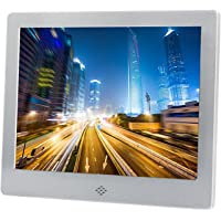 Digital Photo Frame 7 inch Electronic Pitcure Frame Video/Audio Player LED Display Support USB/SD/MS/MMC/3.5mm Audio Port Built-in Speaker Metal Frame with Remote Control (Silver)