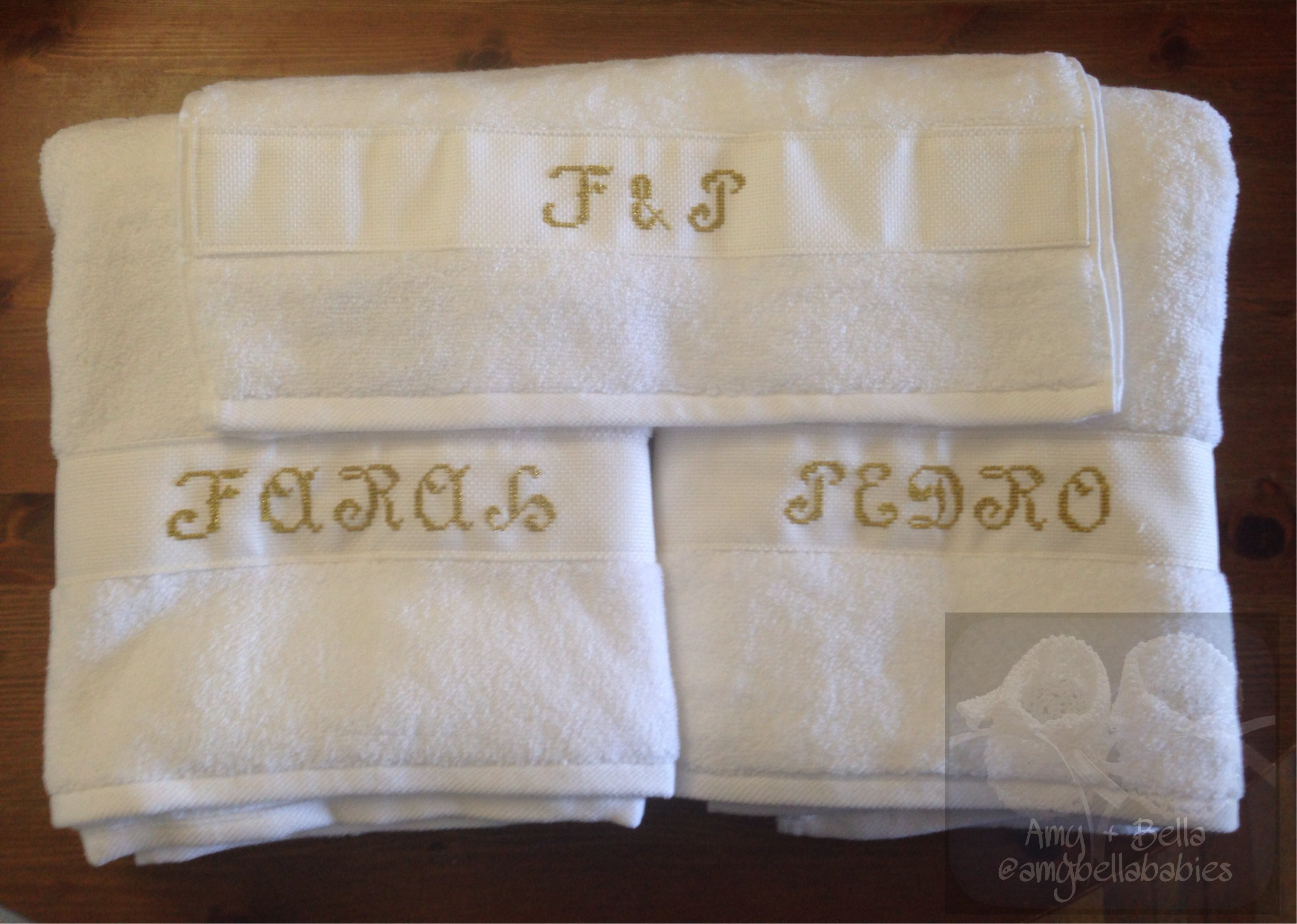 Embroidered Personalized Wedding 3 Towel Set by Amy + Bella