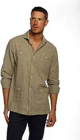 THE TIME OF BOCHA Camisa Hombre Cubana 80% Lino-20% Algodon KV1CUBANA-109-7: Amazon.es: Ropa y accesorios